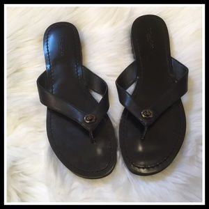 Coach Shelly Sandals - Black Leather - Size 8